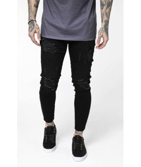 AW/19 Distressed Skinny Jeans - black