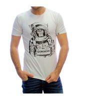 Camiseta para chico mono astronauta blanca.