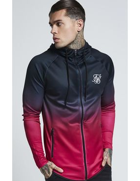 Sudadera con Capucha Zip Through Fade Sik Silk Athlete para Hombre en negro y rosa
