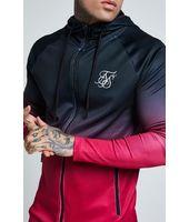 Sudadera con Capucha Zip Through Fade Sik Silk Athlete para Hombre en negro y rosa