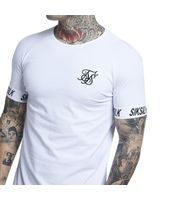 Camiseta SIKSILK Blanca Mangas Letras para Hombre en Blanco