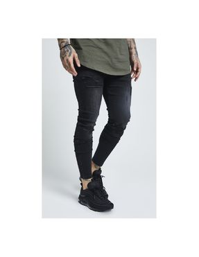 SikSilk Skinny Distressed Denim – Washed Black