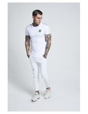 SikSilk S/S Curved Gym Tee - Blanco para Hombre