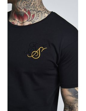 Camiseta SikSilk Curved Poly Cotton Negra para Hmbre