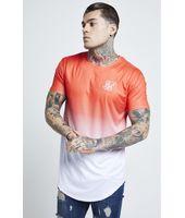 Camiseta SikSilk Neon Fade para Hombre Naranja Fluor