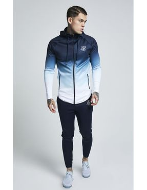 SikSilk Athlete Zip Through Hoodie para Hombre Azul Marino y Blanco
