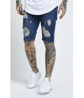 SikSilk Distressed Skinny Shorts – Midstone para Hombre