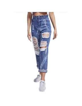 Pantalones vaqueros Siksilk – R.I.P. Mom Fit Bleach Flicker Jeans Dark Indigo azul