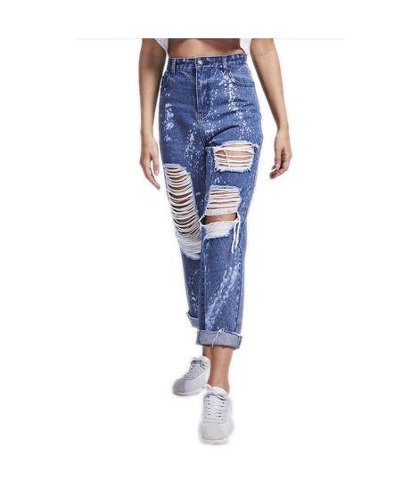Pantalones vaqueros Siksilk – R.I.P. Mom Fit Bleach Flicker Jeans Dark Indigo azul