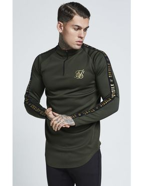SikSilk Athlete Training Top Manga Larga para Hombre - Khaki
