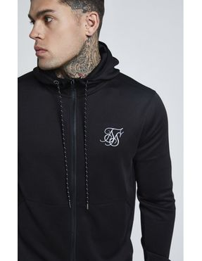 Chaqueta con Capucha SikSilk Agility Zip Through para Hombre - Negro