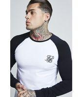 Camiseta Manga Larga SikSilk Raglan Gym - Blanco y Negro