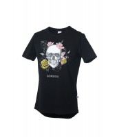 Camiseta Gorgeous Flower Skull Negra